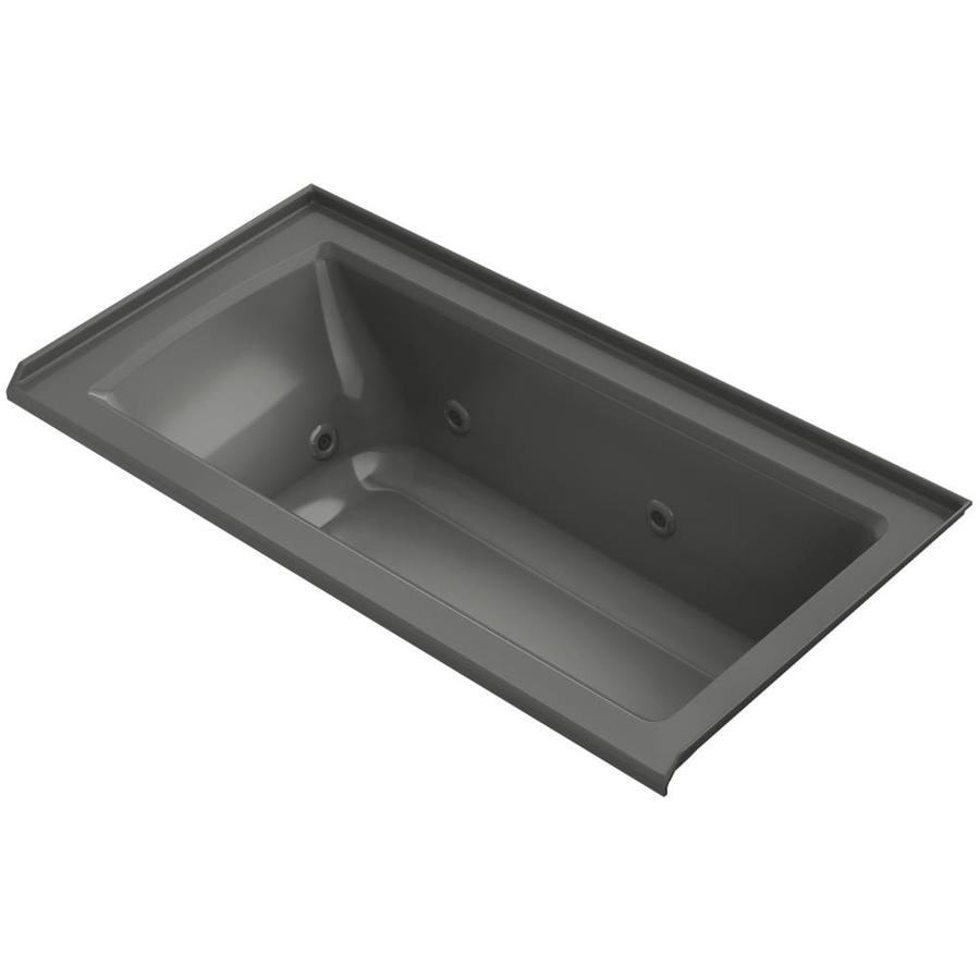 KOHLER Archer 60-in Thunder Grey Acrylic Alcove Whirlpool Tub with Right-Hand Drain