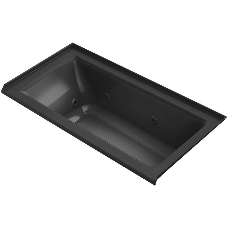 KOHLER Archer 60-in Black Acrylic Alcove Whirlpool Tub with Right-Hand Drain