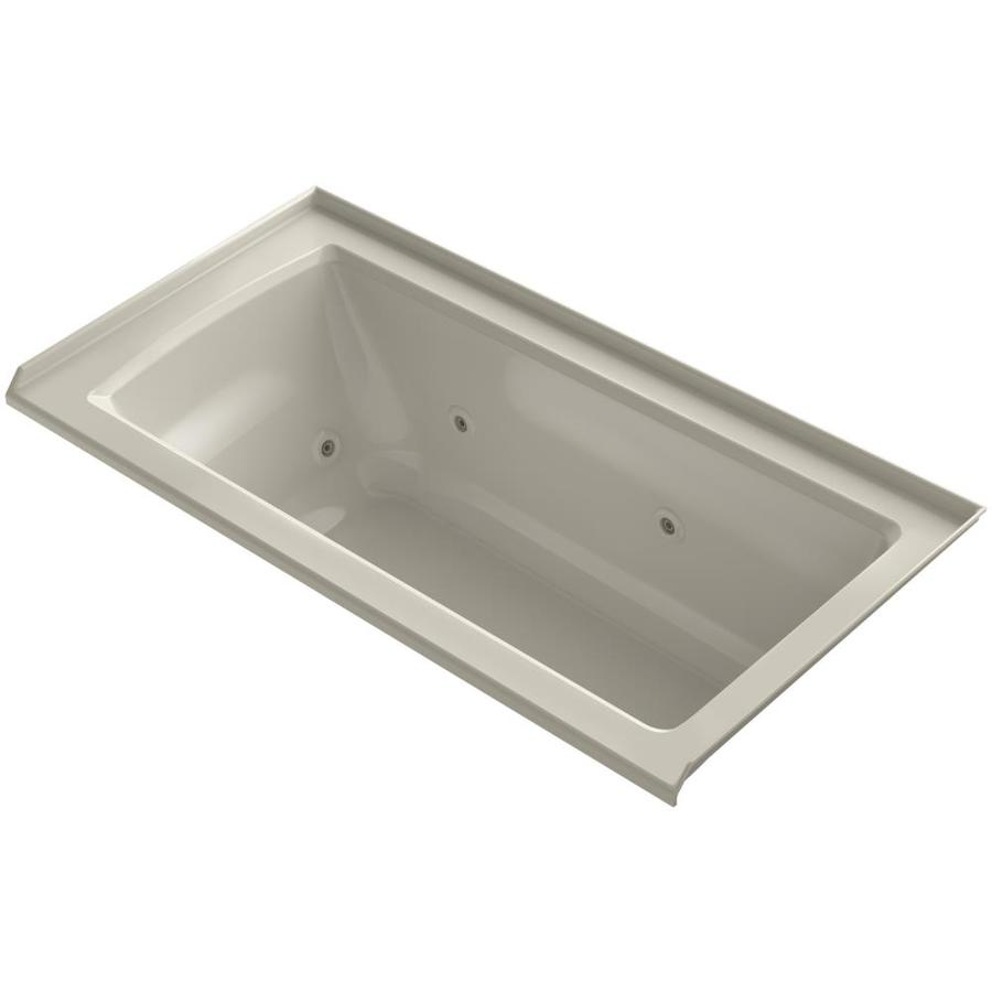 KOHLER Archer 60-in Sandbar Acrylic Alcove Whirlpool Tub with Right-Hand Drain