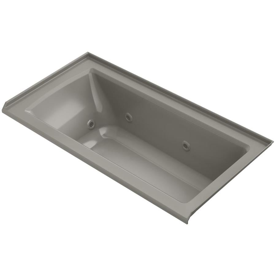 Shop KOHLER Archer 60 In Cashmere Acrylic Alcove Whirlpool Tub With Right Han