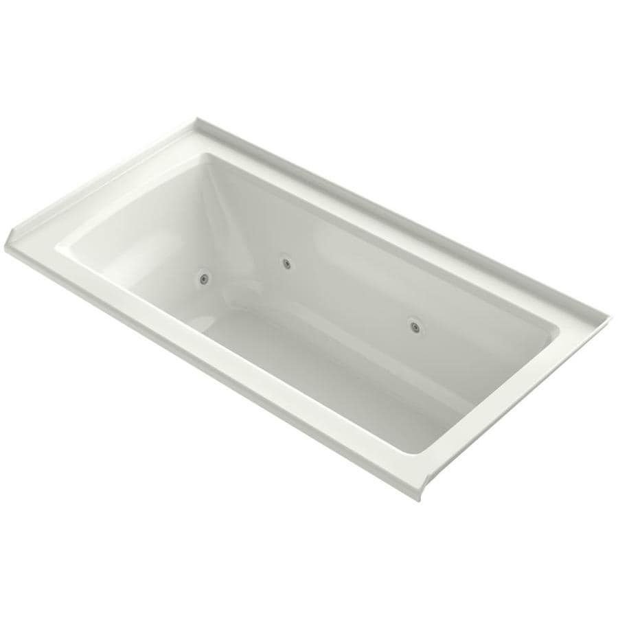 KOHLER Archer 60-in Dune Acrylic Alcove Whirlpool Tub with Right-Hand Drain