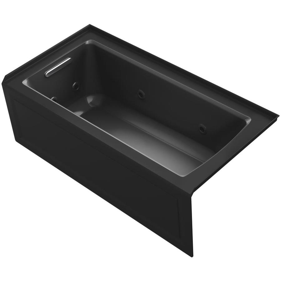 KOHLER Archer Black Black Acrylic Rectangular Whirlpool Tub (Common: 30-in x 60-in; Actual: 19-in x 30-in x 60-in)