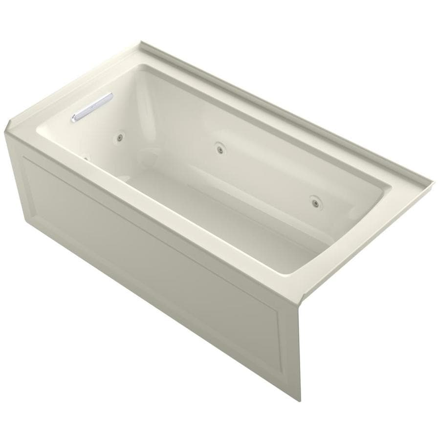 KOHLER Archer 60-in Biscuit Acrylic Alcove Whirlpool Tub with Left-Hand Drain
