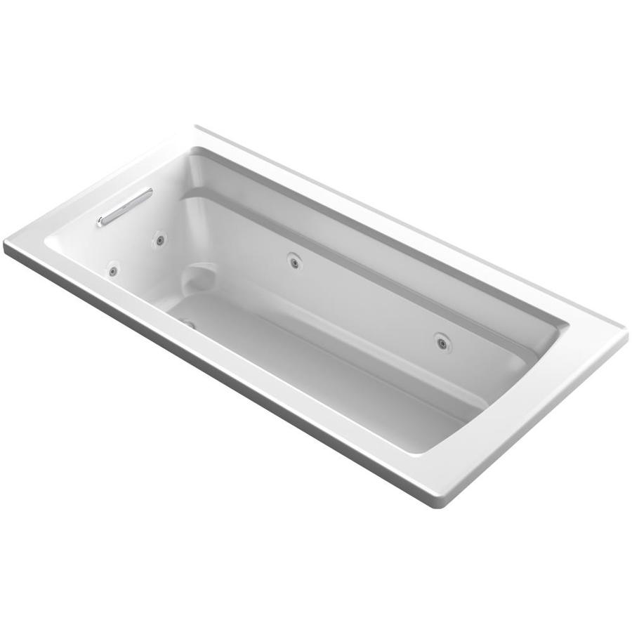 KOHLER Acher 66-in White Acrylic Drop-In Whirlpool Tub with Reversible Drain