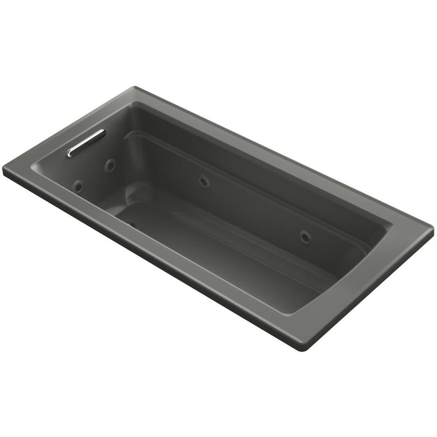 KOHLER Acher 66-in Thunder Grey Acrylic Drop-In Whirlpool Tub with Reversible Drain