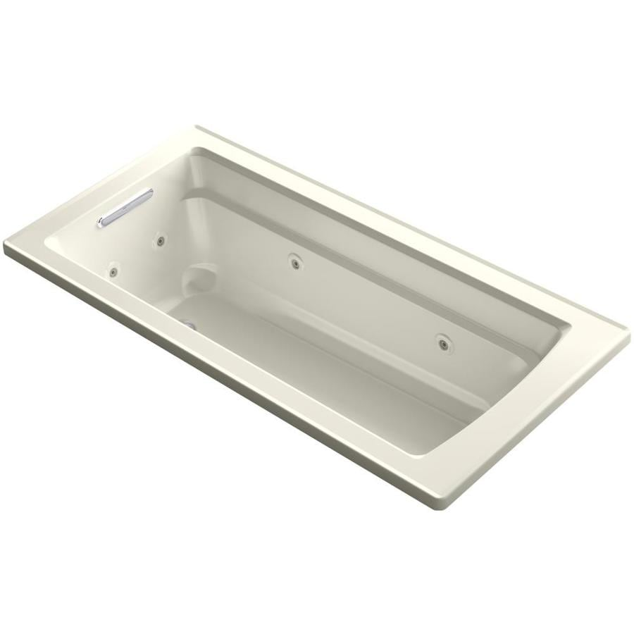 KOHLER Acher 66-in Biscuit Acrylic Drop-In Whirlpool Tub with Reversible Drain