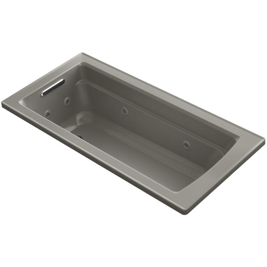 KOHLER Acher Cashmere Acrylic Rectangular Drop-in Whirlpool Tub (Common: 32-in x 66-in; Actual: 19-in x 32-in)