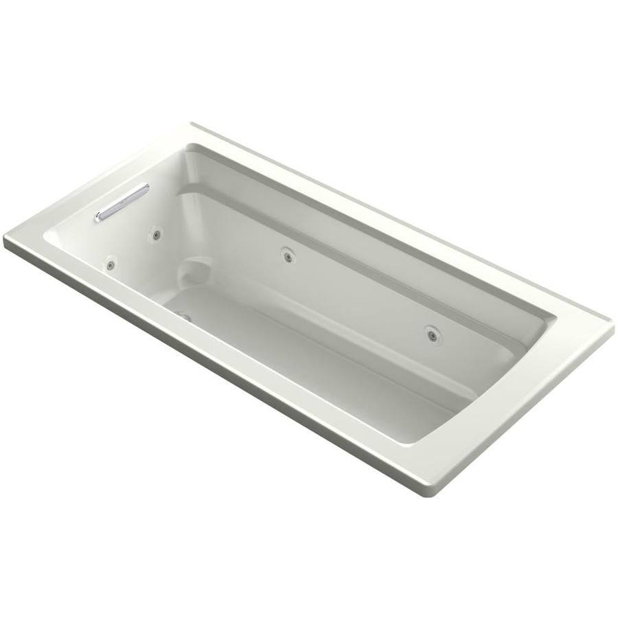 Shop KOHLER Acher 66 In Dune Acrylic Drop In Whirlpool Tub With Reversible Dr