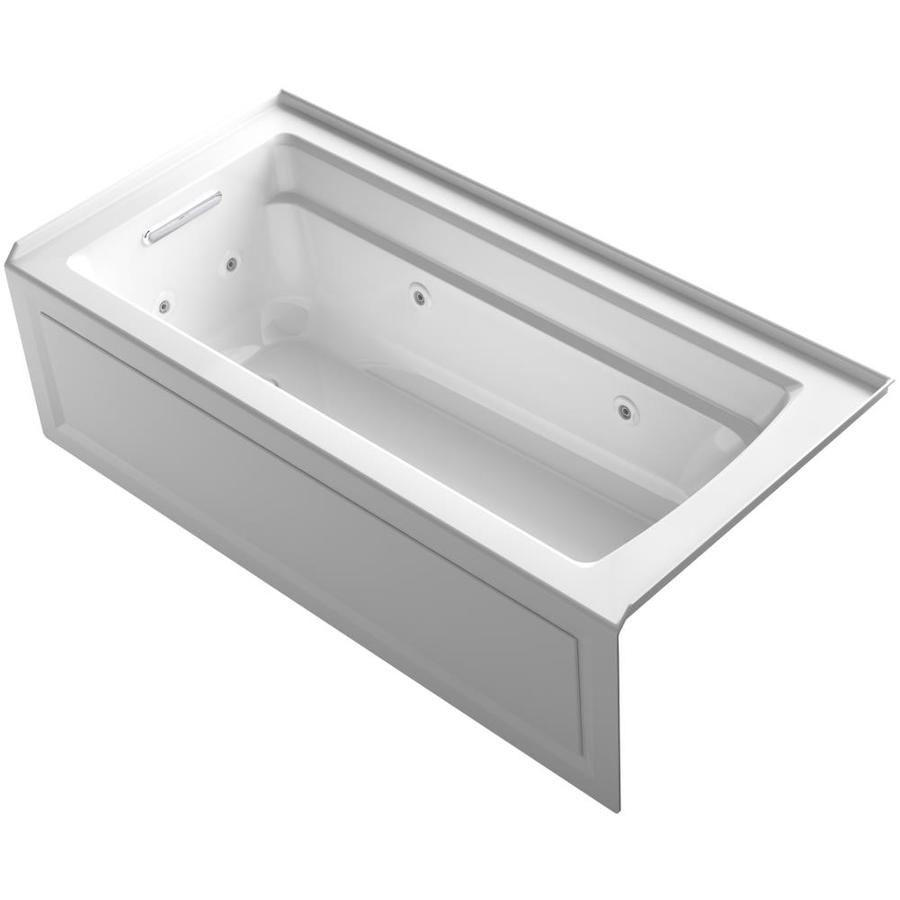 KOHLER Archer 66-in White Acrylic Alcove Whirlpool Tub with Left-Hand Drain