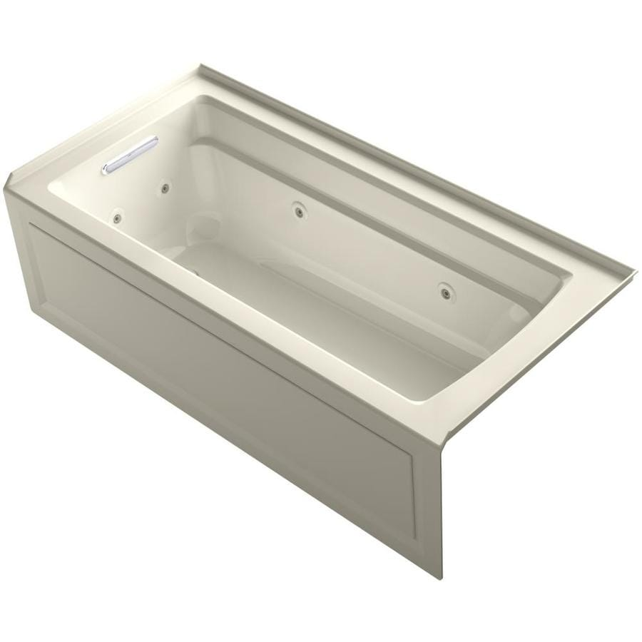 KOHLER Archer 66-in Almond Acrylic Alcove Whirlpool Tub with Left-Hand Drain