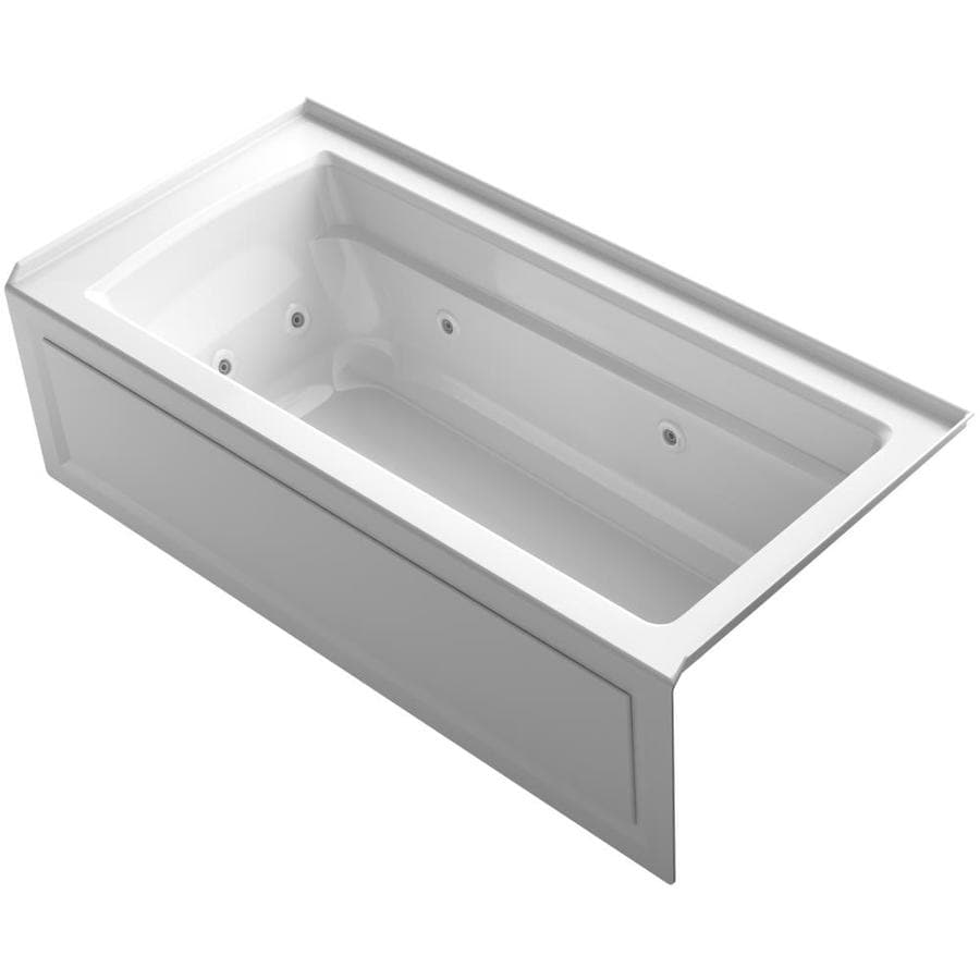 Shop KOHLER Archer 66-in White Acrylic Alcove Whirlpool Tub with ...