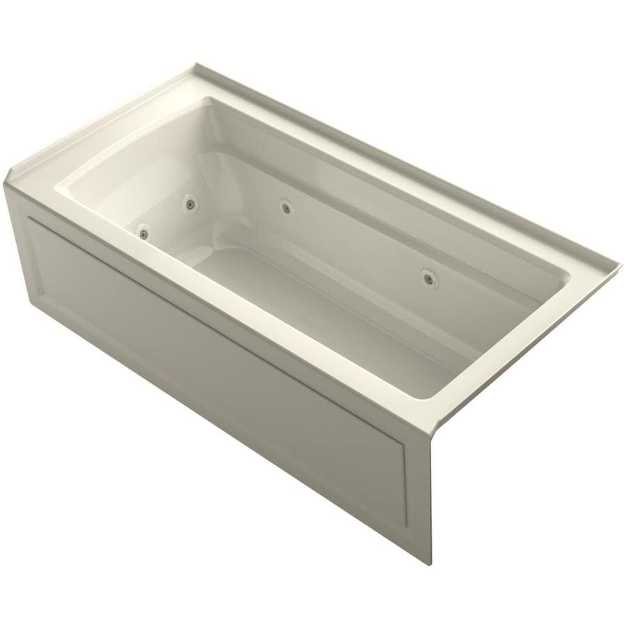 KOHLER Archer 66-in Almond Acrylic Alcove Whirlpool Tub with Right-Hand Drain