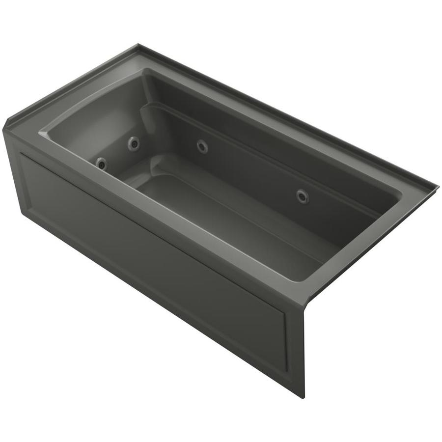 KOHLER Archer 66-in Thunder Grey Acrylic Alcove Whirlpool Tub with Right-Hand Drain