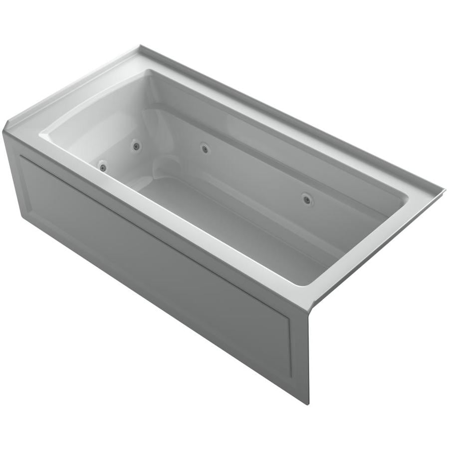 KOHLER Archer 66-in Ice Grey Acrylic Alcove Whirlpool Tub with Right-Hand Drain