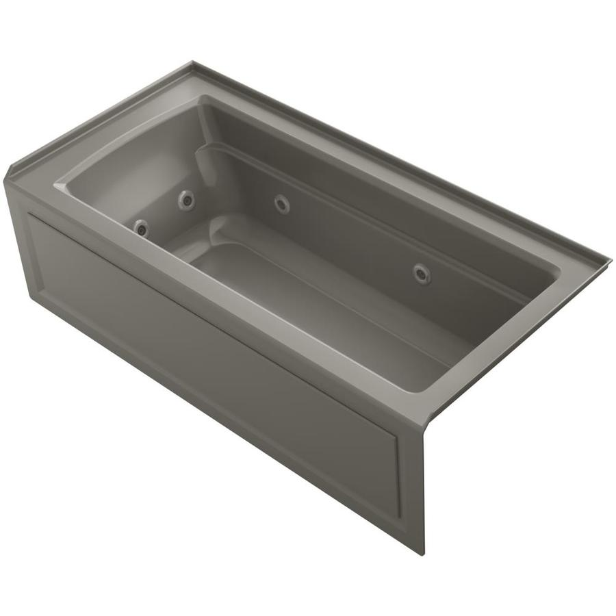 KOHLER Archer 66-in Cashmere Acrylic Alcove Whirlpool Tub with Right-Hand Drain
