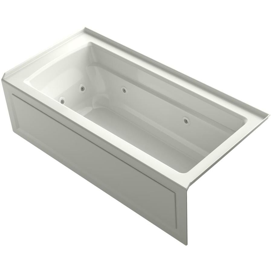 KOHLER Archer Dune Acrylic Rectangular Alcove Whirlpool Tub (Common: 32-in x 66-in; Actual: 19-in x 32-in)