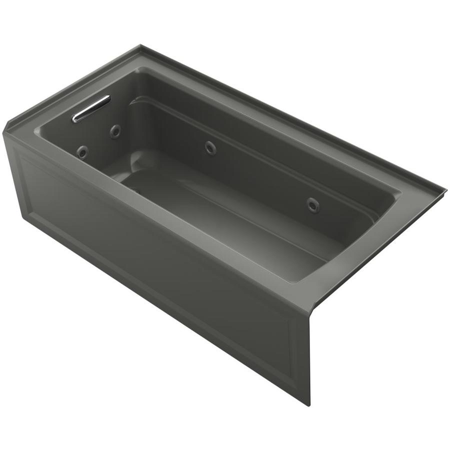 KOHLER Archer 66-in Thunder Grey Acrylic Alcove Whirlpool Tub with Left-Hand Drain