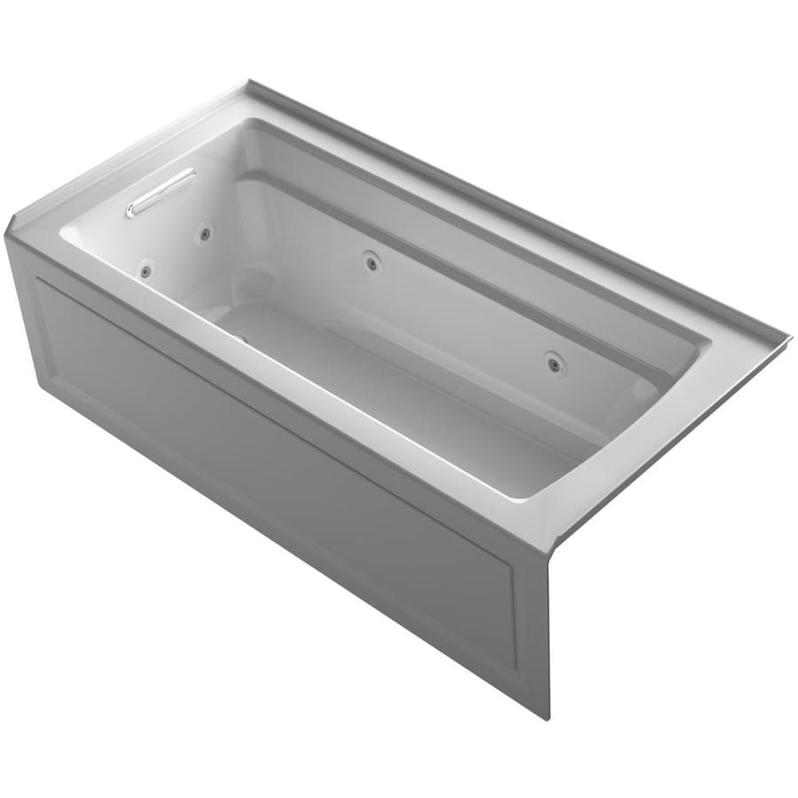 KOHLER Archer 66-in Ice Grey Acrylic Alcove Whirlpool Tub with Left-Hand Drain