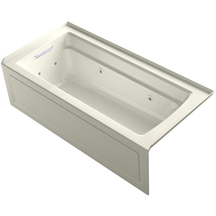 Shop KOHLER Archer 66 In Biscuit Acrylic Alcove Whirlpool Tub With Left Hand