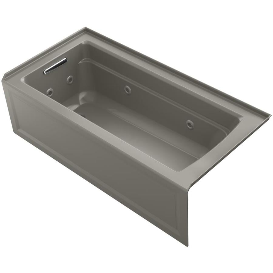 KOHLER Archer 66-in Cashmere Acrylic Alcove Whirlpool Tub with Left-Hand Drain