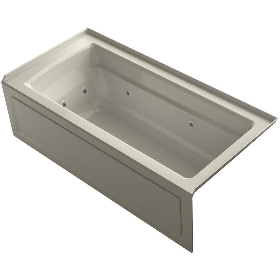 KOHLER Archer Sandbar Acrylic Rectangular Whirlpool Tub (Common: 32-in x 66-in; Actual: 19-in x 32-in x 66-in)