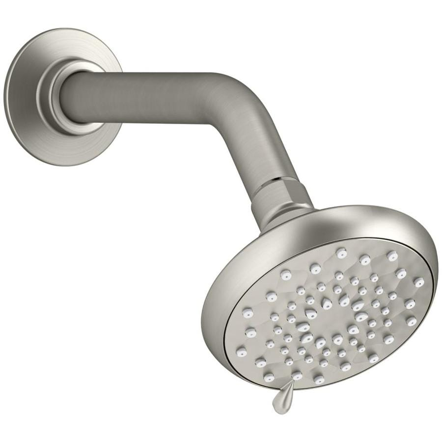 KOHLER Awaken 3.75-in 2.0-GPM (7.6-LPM) Vibrant Brushed Nickel 3-Spray WaterSense Rain Showerhead with Bluetooth Capability and Built-In Speakers