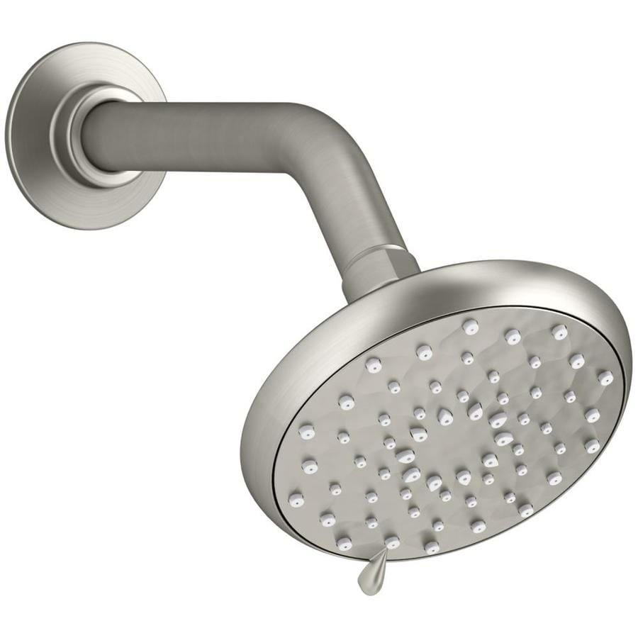 KOHLER Awaken 4.625-in 2.0-GPM (7.6-LPM) Vibrant Brushed Nickel 3-Spray WaterSense Rain Showerhead with Bluetooth Capability and Built-In Speakers