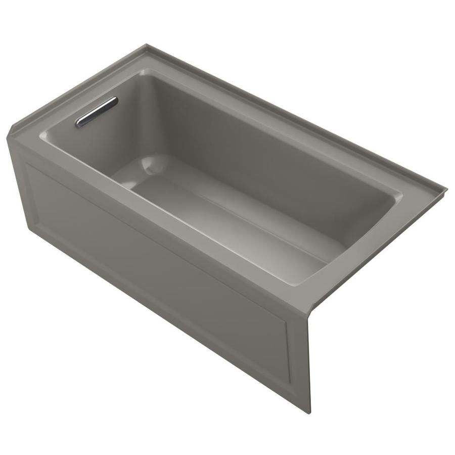 KOHLER Archer 60-in Cashmere Acrylic Alcove Bathtub with Left-Hand Drain