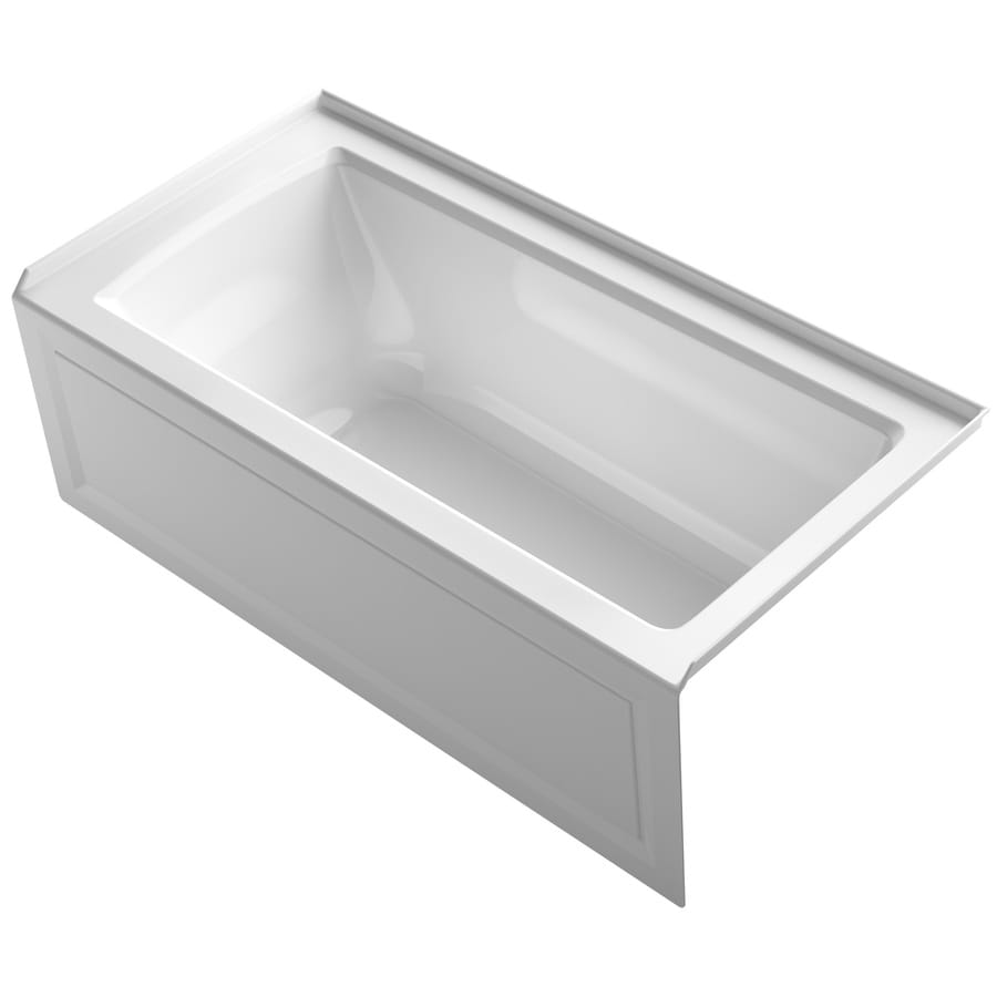 Shop kohler archer 60 in white acrylic alcove bathtub with for How deep is a normal bathtub