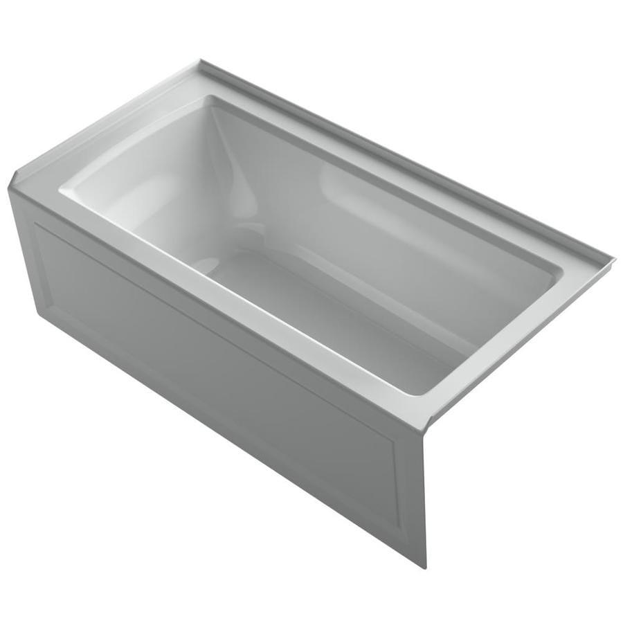 KOHLER Archer 60-in Ice Grey Acrylic Alcove Bathtub with Right-Hand Drain