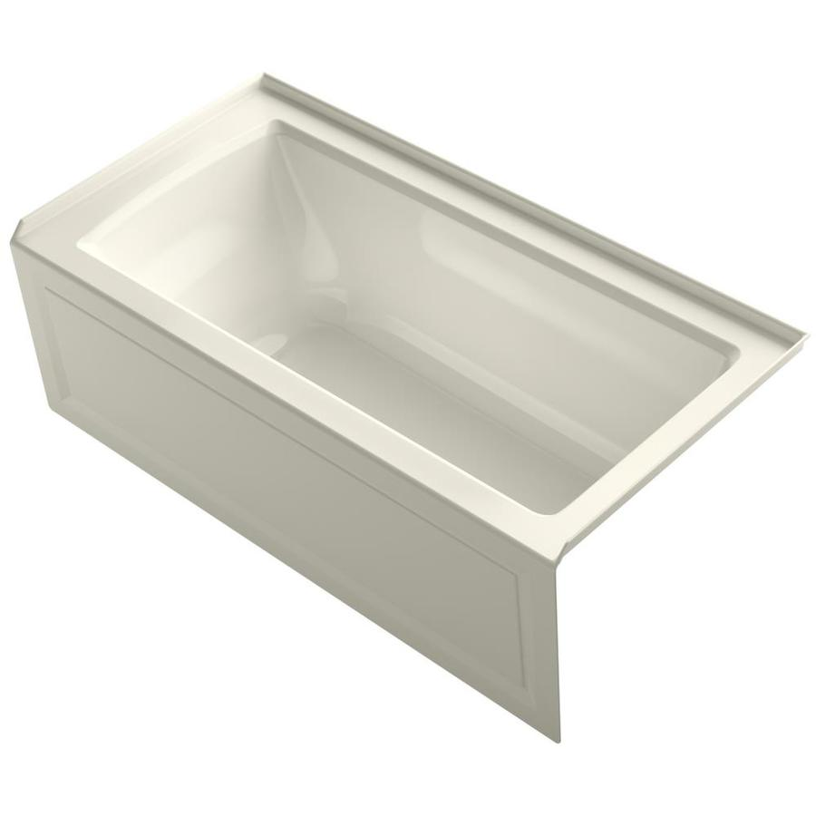 KOHLER Archer 60-in Biscuit Acrylic Alcove Bathtub with Right-Hand Drain