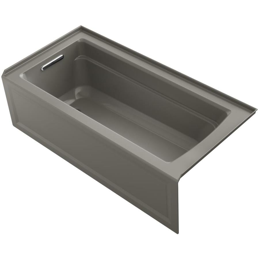 KOHLER Archer Cashmere Acrylic Rectangular Alcove Bathtub with Left-Hand Drain (Common: 32-in x 66-in; Actual: 19-in x 32-in x 66-in)