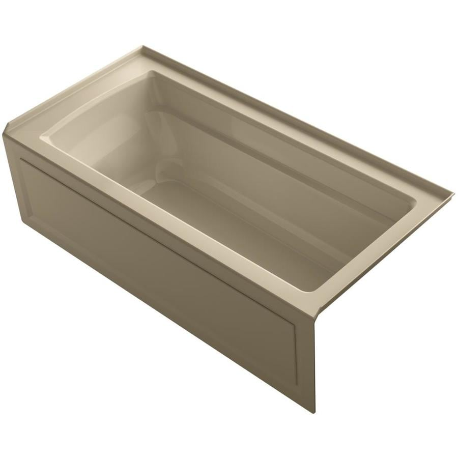 KOHLER Archer Mexican Sand Acrylic Rectangular Alcove Bathtub with Right-Hand Drain (Common: 32-in x 66-in; Actual: 19-in x 32-in x 66-in)