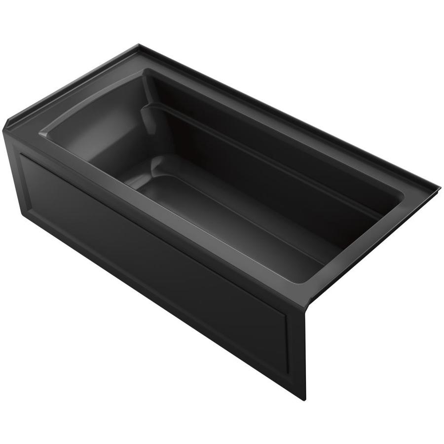 KOHLER Archer Black Acrylic Rectangular Alcove Bathtub with Right-Hand Drain (Common: 32-in x 66-in; Actual: 19-in x 32-in x 66-in)