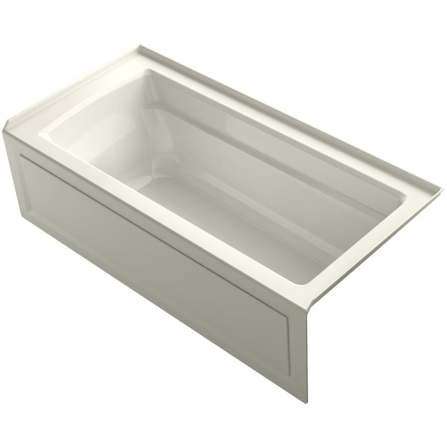 KOHLER Archer 66-in Biscuit Acrylic Alcove Bathtub with Right-Hand Drain