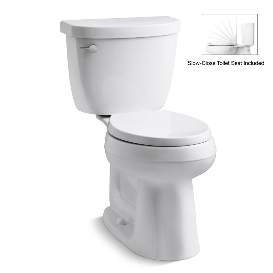 KOHLER Cimarron 1.28-GPF (4.85-LPF) White WaterSense Round Chair Height 2-Piece Toilet
