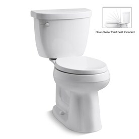 KOHLER Cimarron Complete Solution White WaterSense Round Chair Height 2-Piece Vitreous China Toilet 12-in Rough-In Size