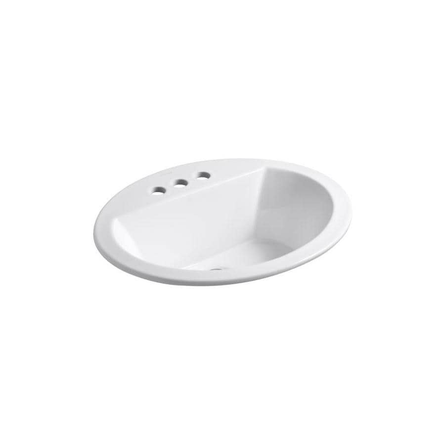 KOHLER Bryant White Drop In Oval Bathroom Sink With Overflow