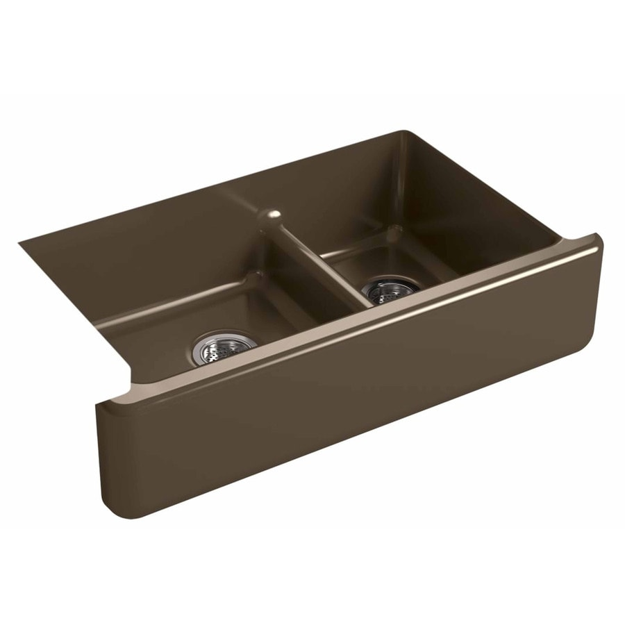 KOHLER Whitehaven 21.5625-in x 35.6875-in Suede Double-Basin Cast Iron Apron Front/Farmhouse Residential Kitchen Sink