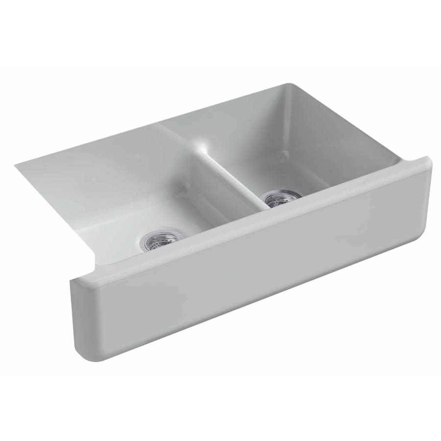 KOHLER Whitehaven 21.5625-in x 35.6875-in Ice Grey Double-Basin Cast Iron Apron Front/Farmhouse Residential Kitchen Sink