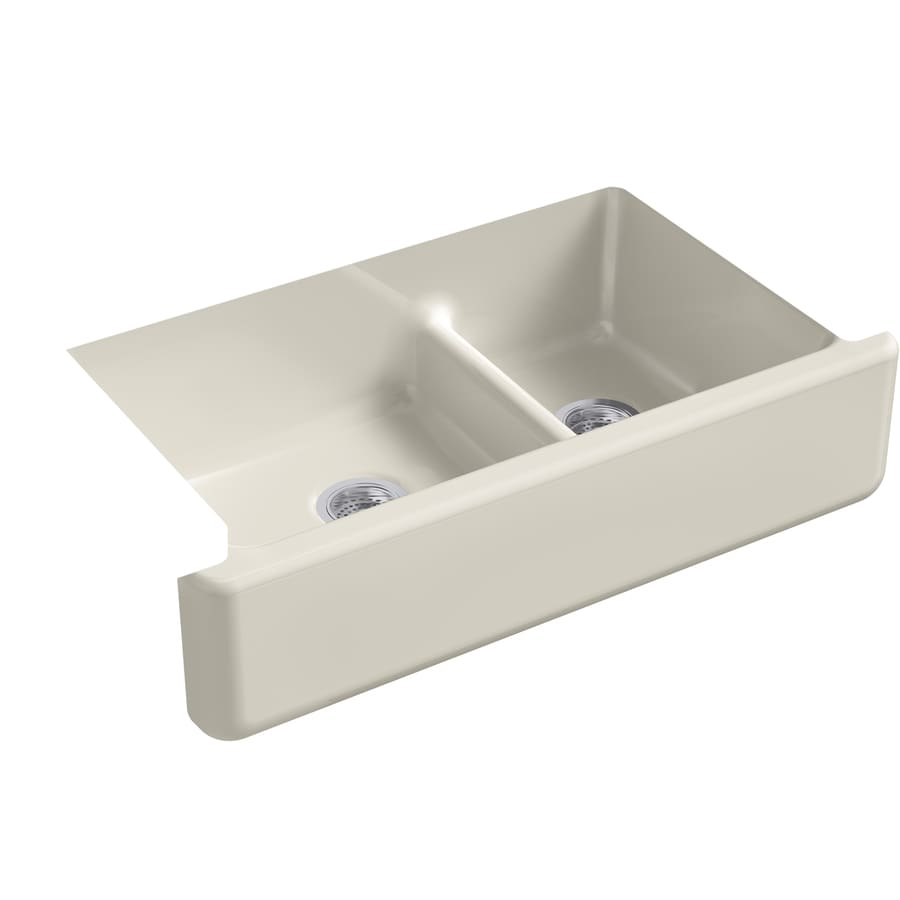 KOHLER Whitehaven 21.5625-in x 35.6875-in Sandbar Double-Basin Cast Iron Apron Front/Farmhouse Residential Kitchen Sink
