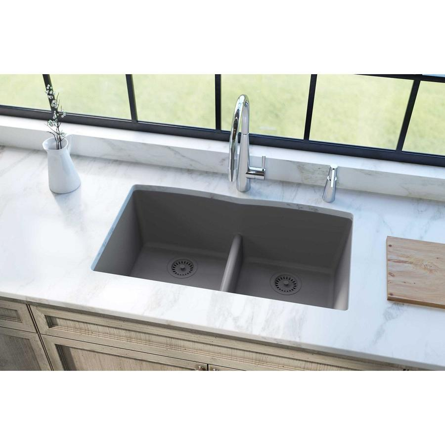 KOHLER Whitehaven 21.5625-in x 35.6875-in Cashmere Double-Basin Cast Iron Apron Front/Farmhouse Residential Kitchen Sink