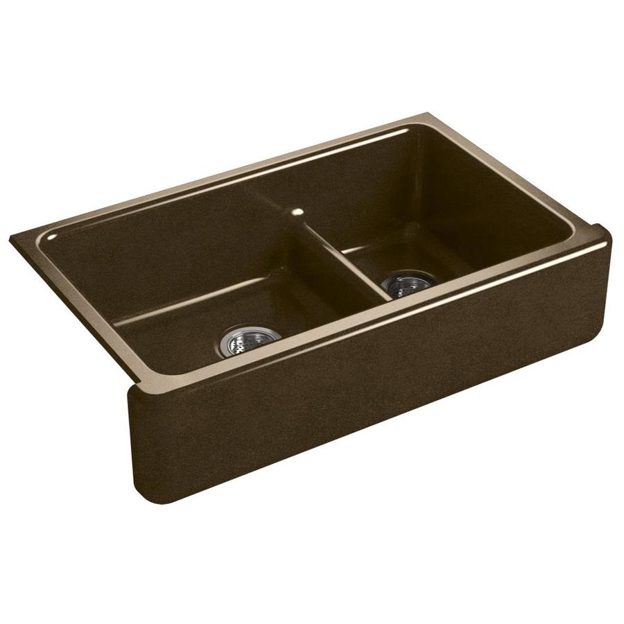 KOHLER Whitehaven 21.56-in x 35.68-in Black N-ft Tan Double-Basin Cast Iron Apron Front/Farmhouse Residential Kitchen Sink