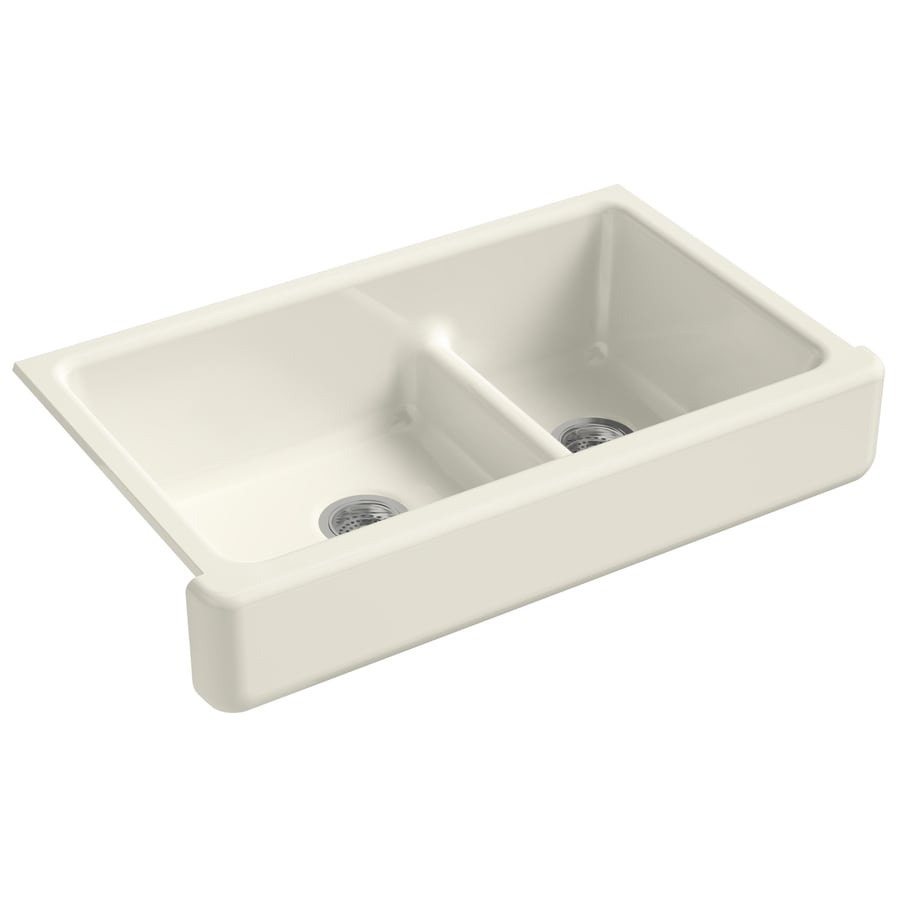 KOHLER Whitehaven 21.56-in x 35.5-in Biscuit Double-Basin Cast Iron Apron Front/Farmhouse Residential Kitchen Sink