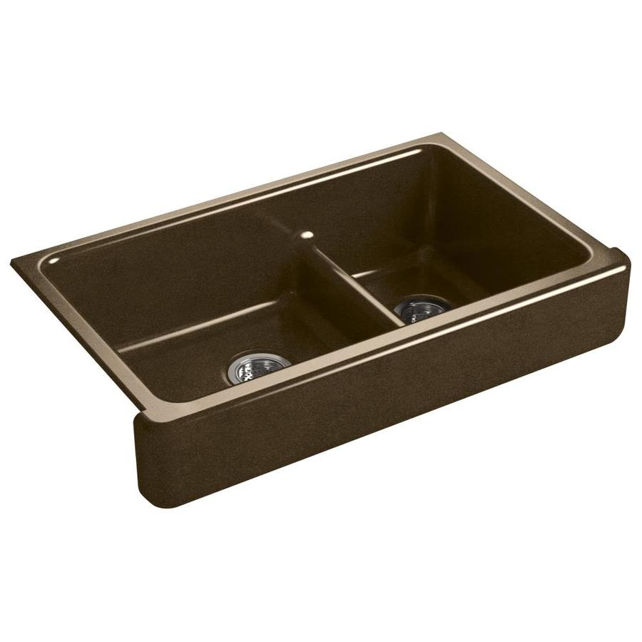KOHLER Whitehaven 21.56-in x 35.5-in Black N-ft Tan 2 Cast Iron Apron Front/Farmhouse (Customizable)-Hole Residential Kitchen Sink