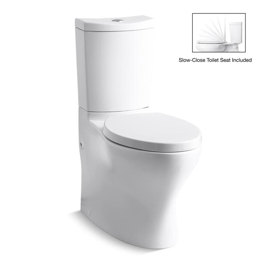 KOHLER Persuade White WaterSense Labeled Dual Elongated Chair Height 2-piece Toilet 12-in Rough-In Size