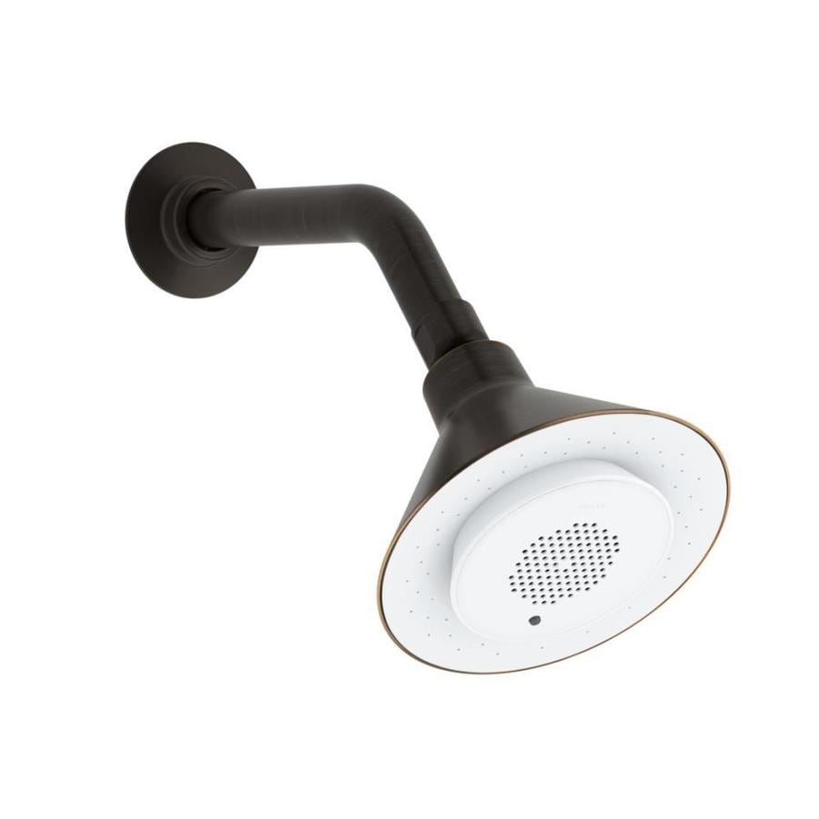 KOHLER Moxie 5-in 2.5-GPM (9.5-LPM) Oil-Rubbed Bronze 1-Spray Showerhead with Bluetooth Capability and Built-In Speakers