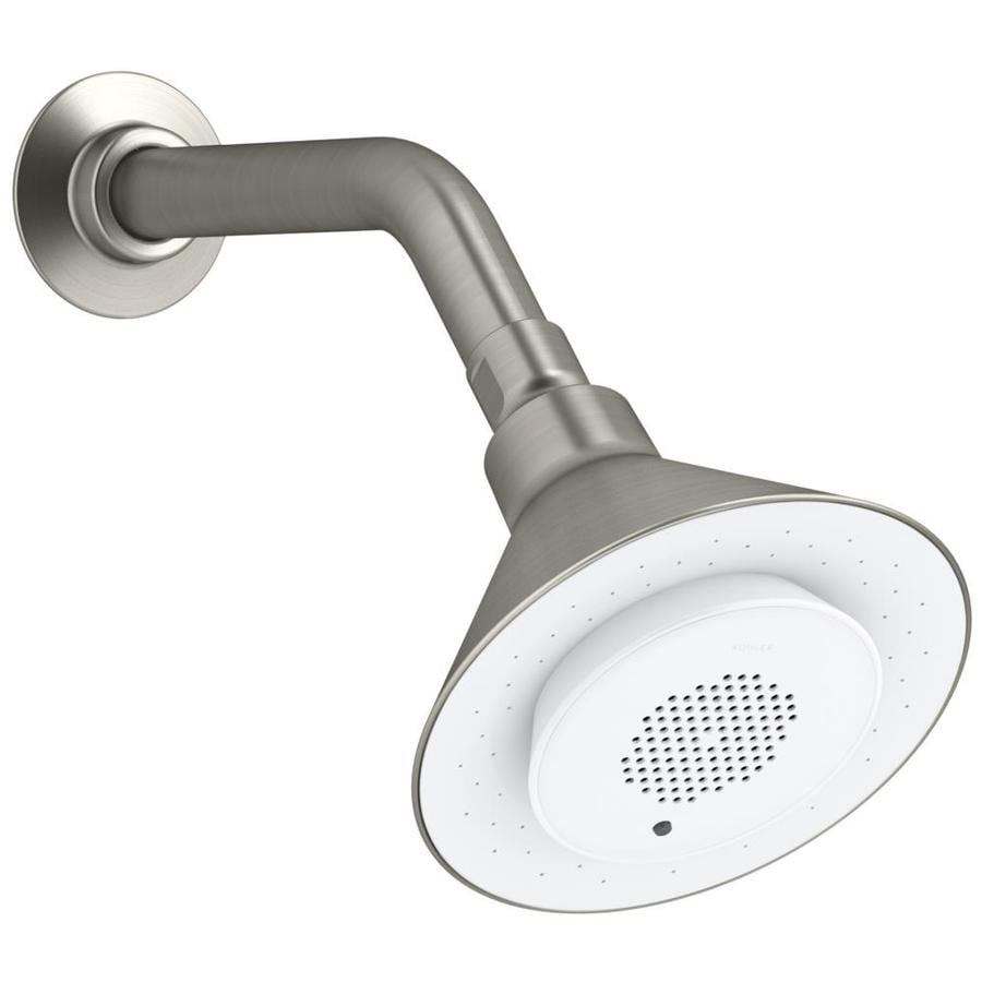 KOHLER Moxie 5-in 2.0-GPM (7.6-LPM) Vibrant Brushed Nickel 1-Spray WaterSense Rain Showerhead with Bluetooth Capability and Built-In Speakers