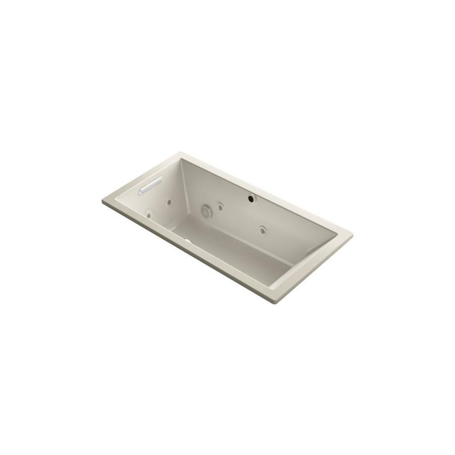 KOHLER Underscore 60.0000-in L x 30.0000-in W x 19.0000-in H Sandbar Acrylic Rectangular Drop-in Air Bath