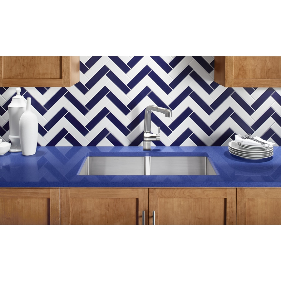 KOHLER Strive 18.25-in x 32-in Stainless Steel Double-Basin Undermount Residential Kitchen Sink